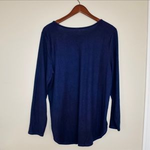 🌵NWT Old Navy Plush-Knit Scoop-Neck Tee Navy Blue